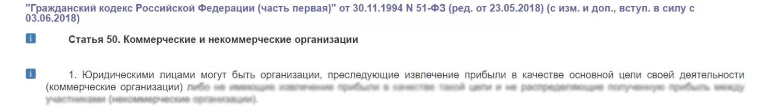 ГК РФ главная цель коммерческой организации